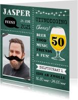 Uitnodiging verjaardag man met eigen foto en bier
