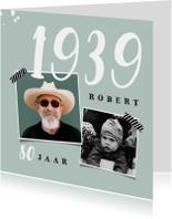 Uitnodigingen - Uitnodiging verjaardag man met foto's en jaartal