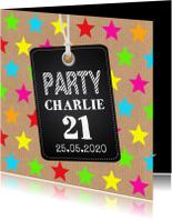 Uitnodigingen - Uitnodiging verjaardag sterren kraft labelprint