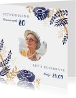 Uitnodigingen - Uitnodiging verjaardag stijlvolle blauwe en goudlook bloemen