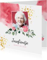 Uitnodigingen - Uitnodiging verjaardag vrouw met waterverf, bloemen en foto