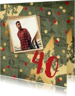 Uitnodigingen - Uitnodiging verjaardagsfeest man stoer confetti foto