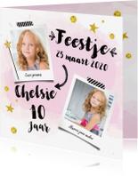 Kinderfeestjes - Uitnodiging verjaardagskaart Feestje roze