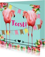 Uitnodiging voor een feestje, hip met flamingo's