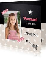 Communiekaarten - uitnodiging vormsel sterren beige foto meisje