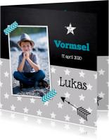 Communiekaarten - Uitnodiging vormsel sterren grijs foto jongen