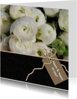 Jubileumkaarten - Uitnodiging zwart witte bloem