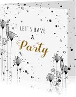 Uitnodigingen - Uitnodigingen doodles zwart wit en verfspetters
