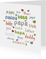 Vaderdag kaarten - Vaderdagkaart  verschillenden talen papa