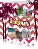 Vakantiekaarten - Vakantie groetjes hippe zomerse foto vakantie kaart