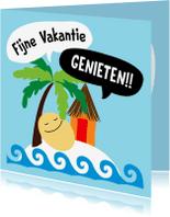 Vakantiekaarten - Vakantiekaart Smiley op eiland