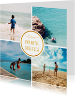 Vakantiekaart 'Vakantiegroetjes' met 4 foto's vierkant