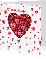 Valentijnskaarten - Valentijn gekleurde hartjes