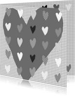 Valentijnskaarten - Valentijn hart grijs