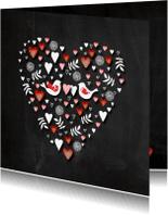 Valentijnskaarten - Valentijn hart schoolbord