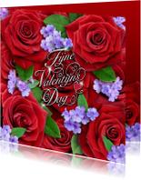 Valentijnskaarten - Valentijn met rode rozen
