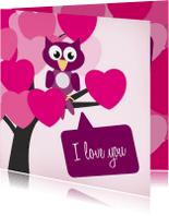 Valentijnskaarten - Valentijn - uil hart - MD