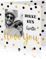 Valentijnskaarten - Valentijnskaart confetti goud zwart foto