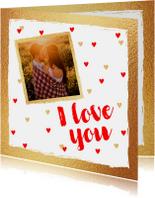 Valentijnskaart foto hartjes goud rood
