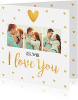 Valentijnskaarten - Valentijnskaart fotocollage hartjes goud
