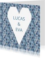 Valentijnskaarten - Valentijnskaart geometrisch hart blauw