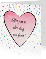 Valentijnskaarten - Valentijnskaart hart en confetti
