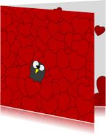 Valentijnskaarten - Valentijnskaart hartjes pinguin