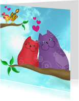Valentijnskaarten - Valentijnskaart katten en vogels