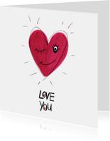 Valentijnskaarten - Valentijnskaart Love you hart met gezichtje