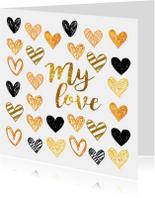 Valentijnskaart met lieve hartjes
