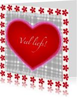 Vriendschap kaarten - Veel liefs rood hart