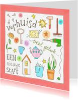 Felicitatiekaarten - Verhuisd, kleine illustraties