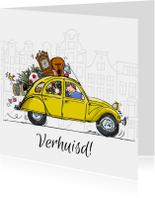 Verhuiskaarten - Verhuiskaart Citroen CV geel