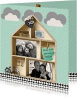 Verhuiskaarten - Verhuiskaart houten letterbak huis