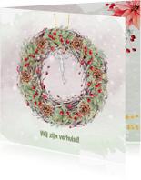 Kerstkaarten - Verhuiskaart met kerstkrans en sleutel