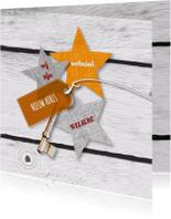 Verhuiskaarten - Verhuiskaart oker geel sterren