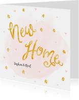 Verhuiskaarten - Verhuiskaart roze waterverf en gouden huisjes confetti