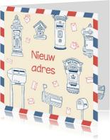 Verhuiskaarten - Verhuiskaart tekening brievenbus