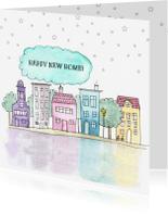 Verhuiskaarten - Verhuiskaart vierkant met handgeschilderde huisjes
