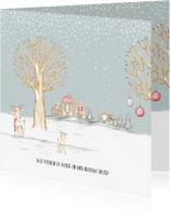Verhuiskaarten - Verhuiskaart winterlandschap met huisjes en hertjes