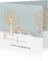 Kerstkaarten - Verhuiskaart winterlandschap met huisjes en hertjes