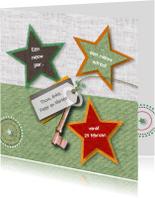 Verhuiskaarten - Verhuizing sterren sleutel stofprints