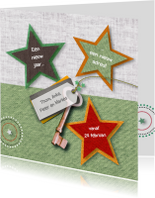 Kerstkaarten - Verhuizing sterren sleutel stofprints