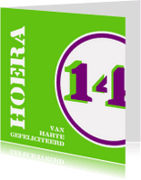 Verjaardagskaarten - Verjaardag 14 jaar felicitatiekaart