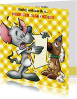 Verjaardagskaarten - Verjaardag 17 muis en hond