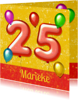 Verjaardagskaarten - Verjaardag ballonnen 25 jaar