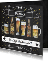Verjaardagskaarten - Verjaardag biertjes krijtbord