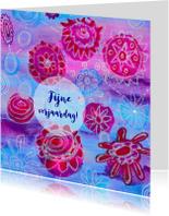 Verjaardagskaarten - Verjaardag bloemen roze blauw2 - HR