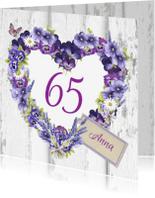 Verjaardagskaarten - verjaardag bloemenhart leeftijd