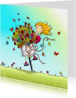 Verjaardagskaarten - Verjaardag bos bloemen op fiets
